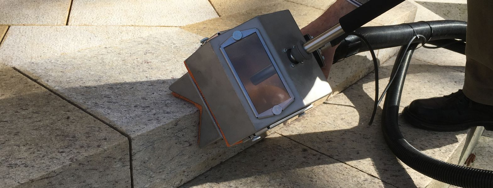 granite cleaning with vacuum blasting