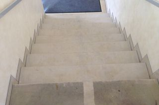 professional sandstone cleaning on stairs